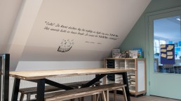 quotes verwerkt in het interieur passend bij de huisstijl van jouw organisatie